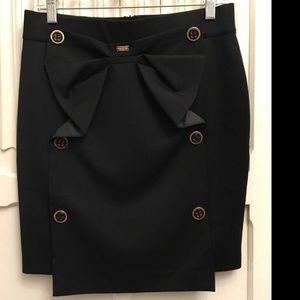French Designer Skirt Black w/ Bow 36 (S)